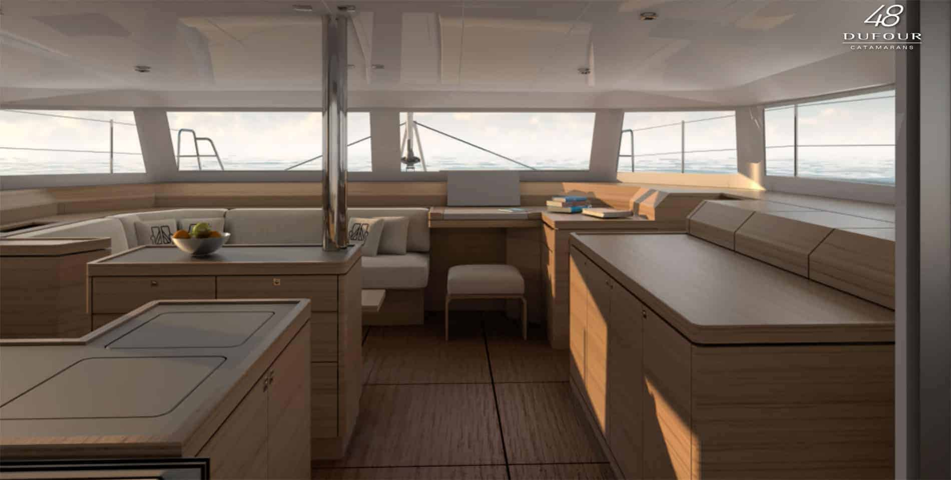 Overview of the beautiful and spacious saloon of the Dufour Catamaran 48