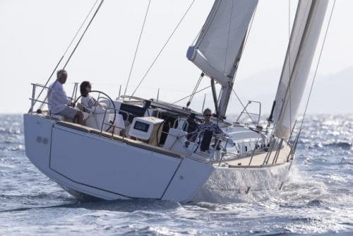 Dufour Grand Large 460 from behind sailing with wind in its sail