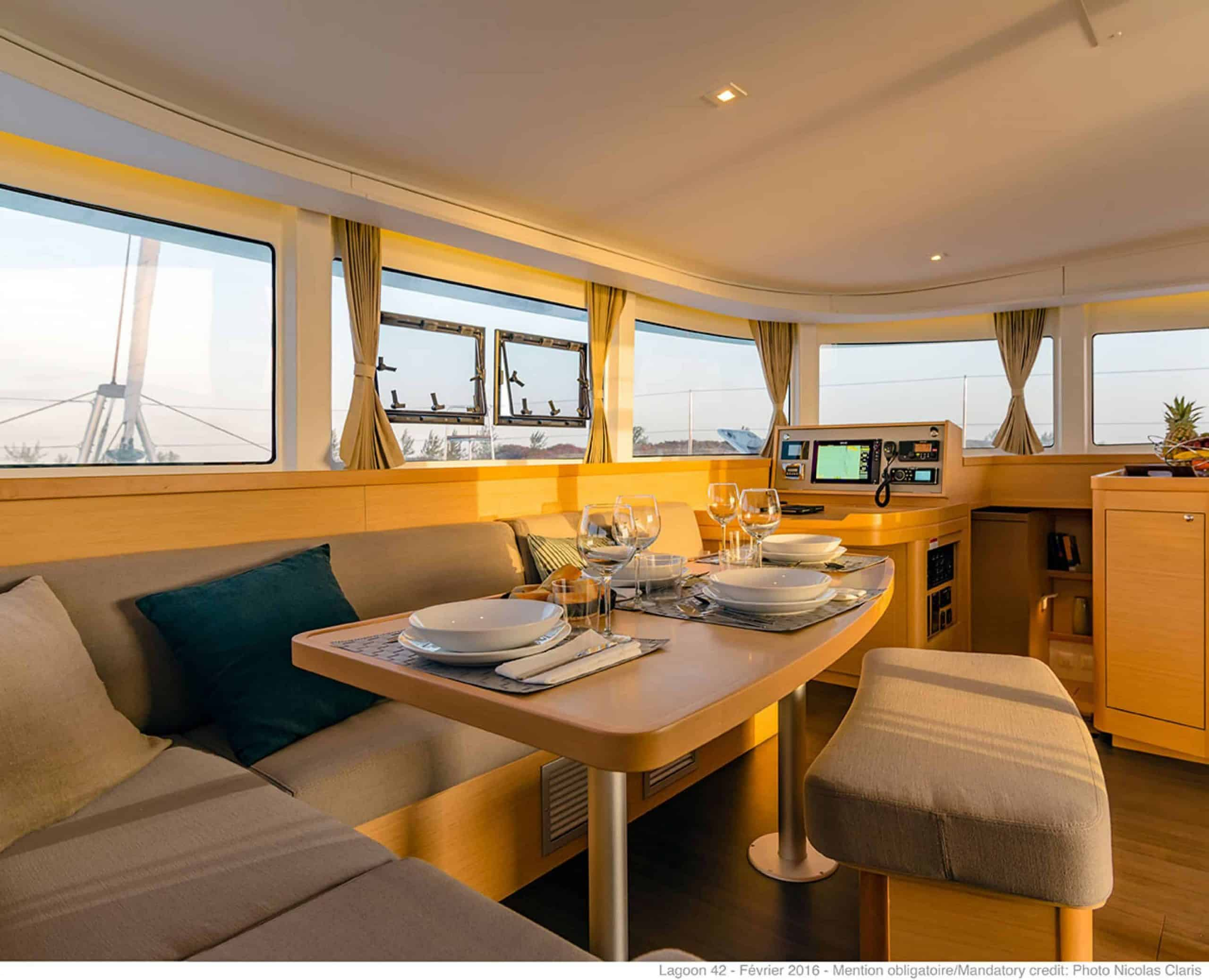 Saloon and navigation area of the lagoon 42.