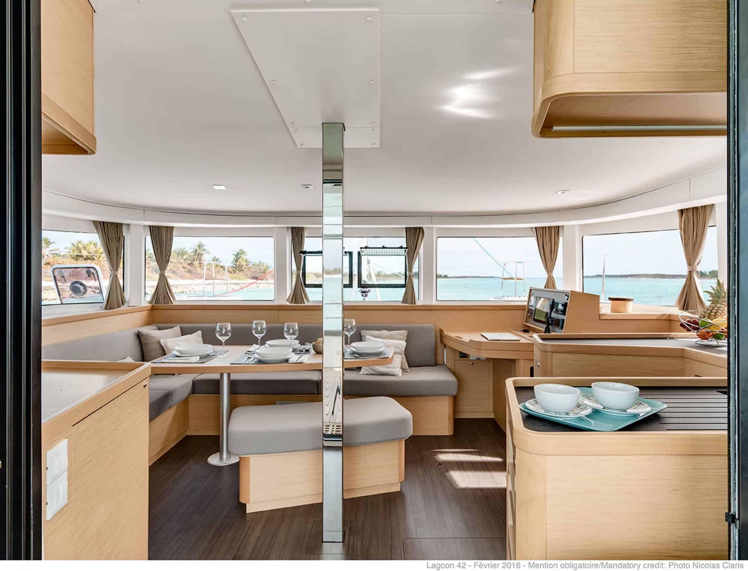Spacious and luxurious saloon of the lagoon 42