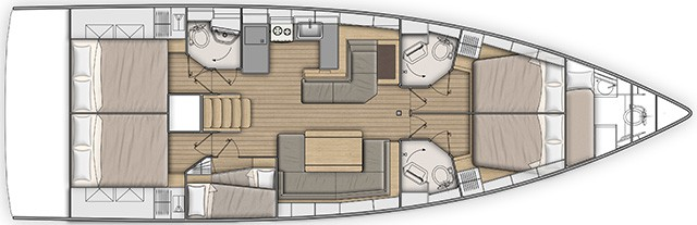 Customizable layout plan of the Beneteau Oceanis 51.1