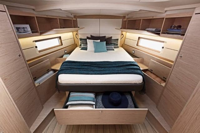 Comfortable and cozy cabins of the Beneteau Oceanis 51.1 with several storage options