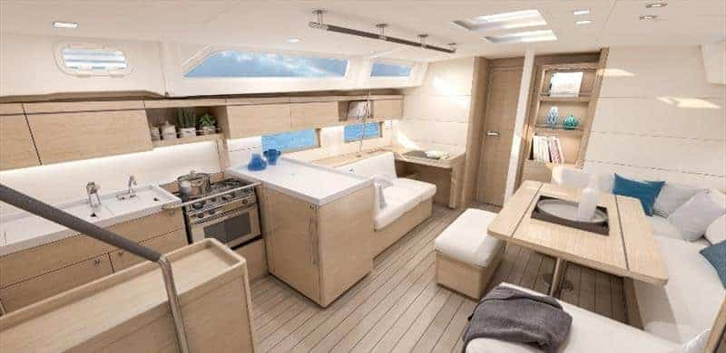 Spacious kitchen and dining area of the Beneteau Oceanis 51.1