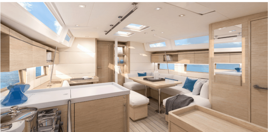 Cozy atmosphere of the Beneteau Oceanis 51.1 saloon