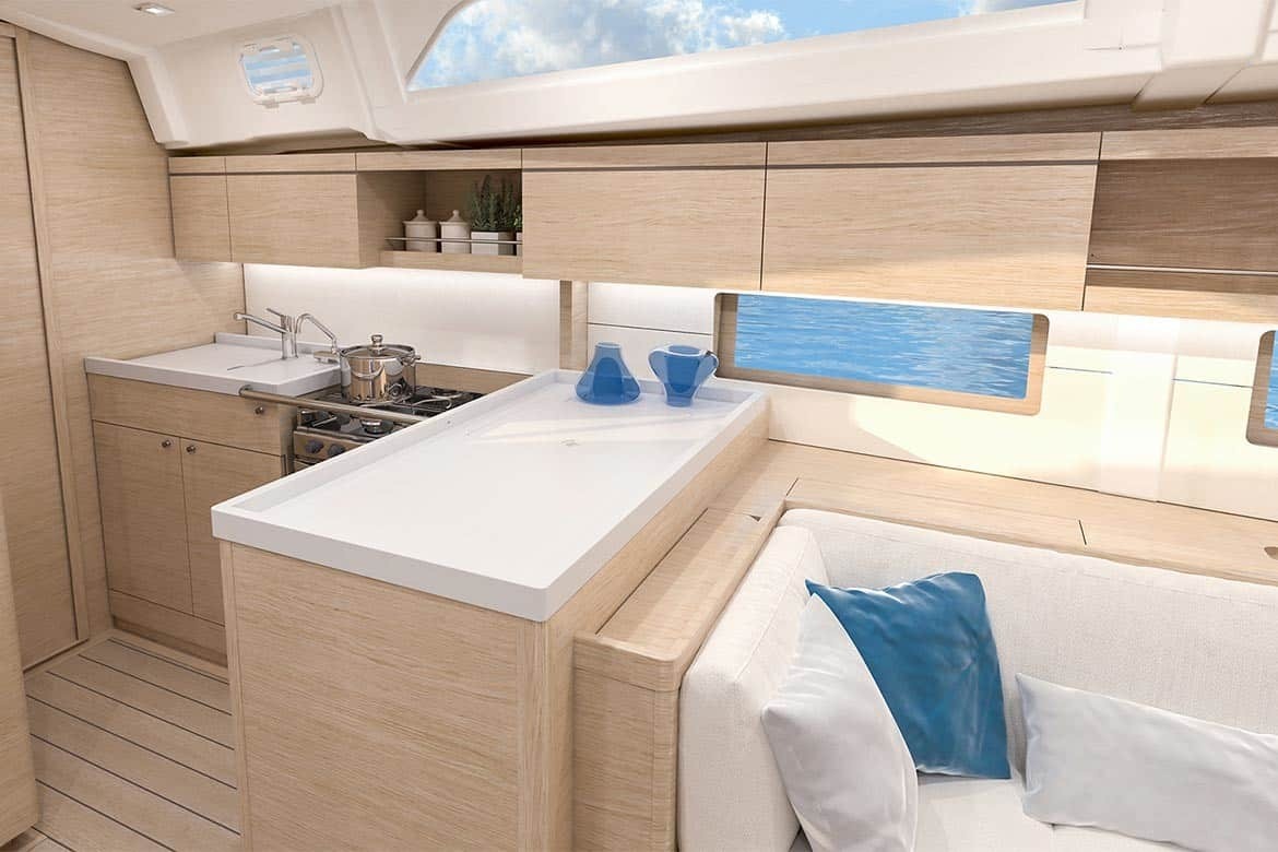 Minimalistic and gorgeous galley of the Beneteau Oceanis 55.1
