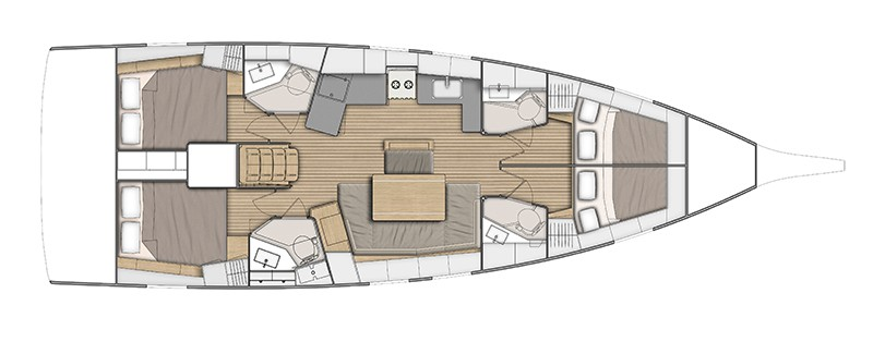 animated layout from above of the Beneteau Oceanis 46.1 showing different hull options