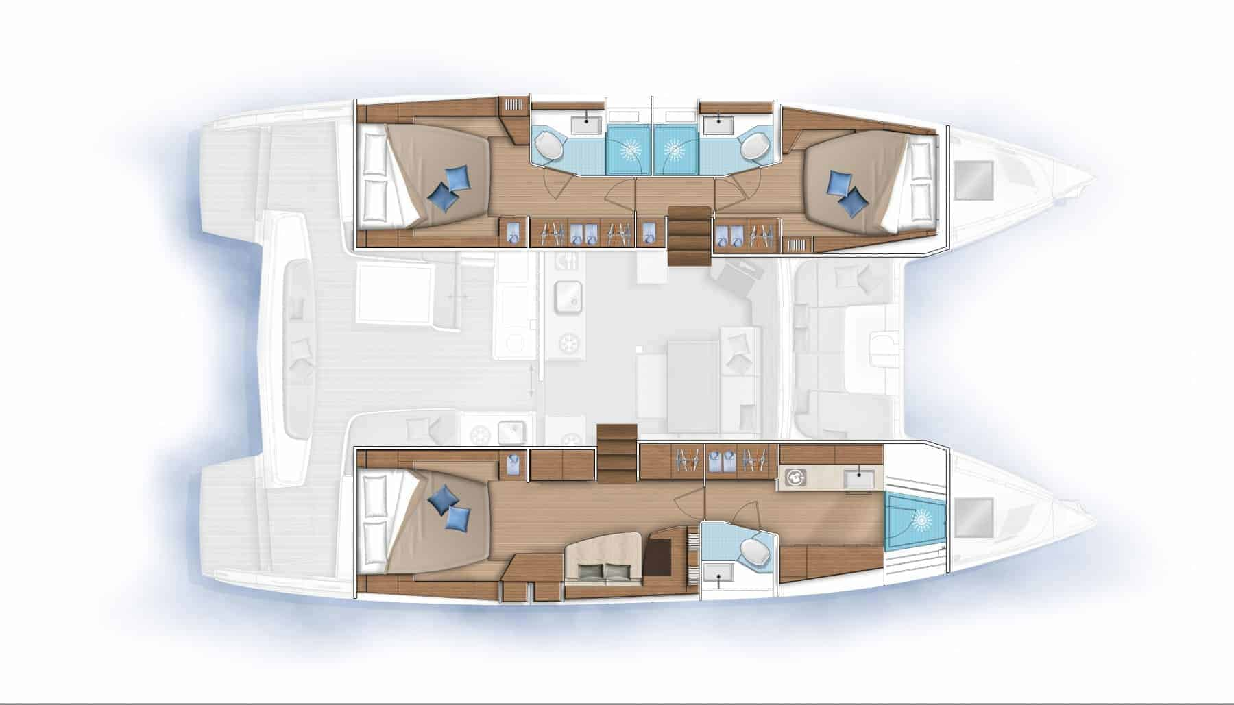 Alternative customizable plan of cabins and galley of the lagoon 46