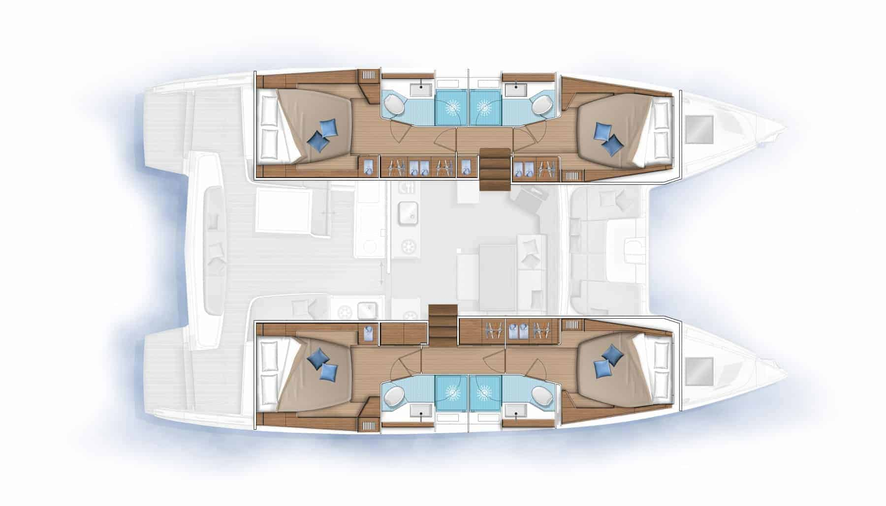 The interior cabin plan of a Lagoon 46 yacht