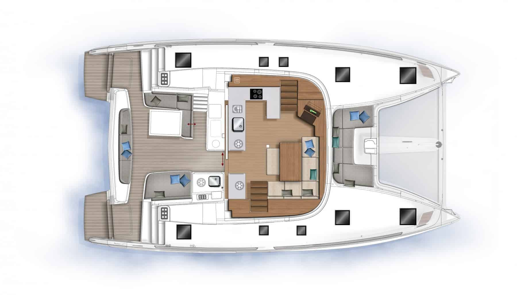The spacious saloon and cockpit plan of the Lagoon 46 yacht