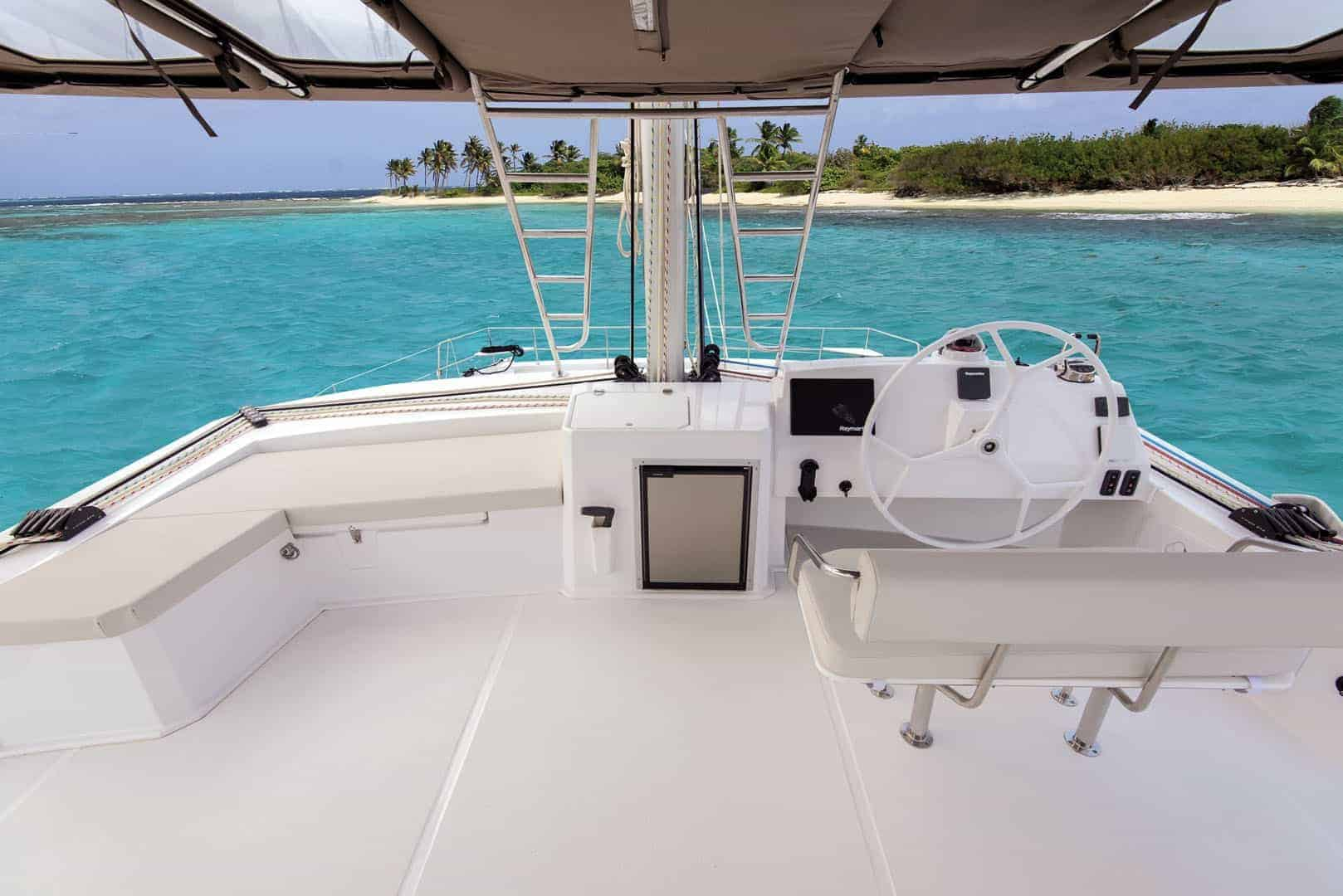 View on a tropical island from the Bali 5.4's beautiful flybridge