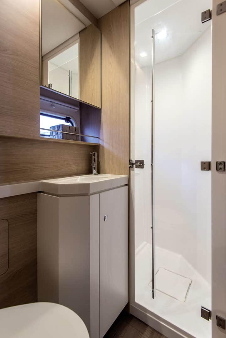 Nice looking sink and shower in one of the heads of a Bali 5.4