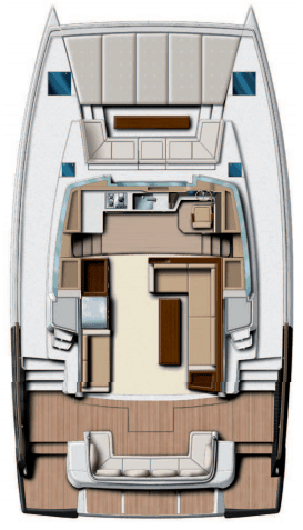 Layout from above showing the cockpit, saloon and deck of the Bali 4.3 MY Revolutionary