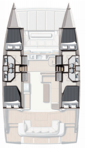 Layout from above showing different hull options for the Bali 4.3 MY Revolutionary