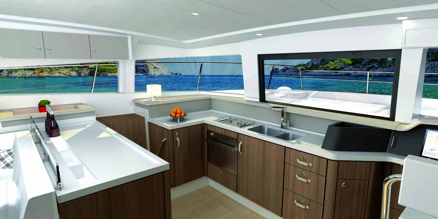 Animated view of the galley with wooden interior of the Bali 4.3 MY Revolutionary