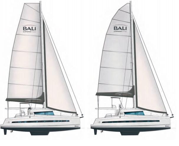 Two animated Bali 4.5 yachts in profile with different types of sail