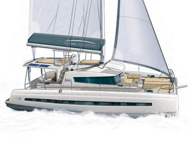 Drawn Bali 4.5 yacht in water with wind in its sail