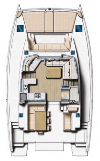 Bali 4.5 animated layout from above showing deck, cockpit and saloon