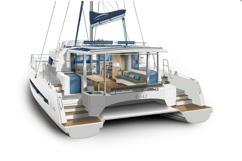 Animated exterior layout of the Bali 5.4 from the back