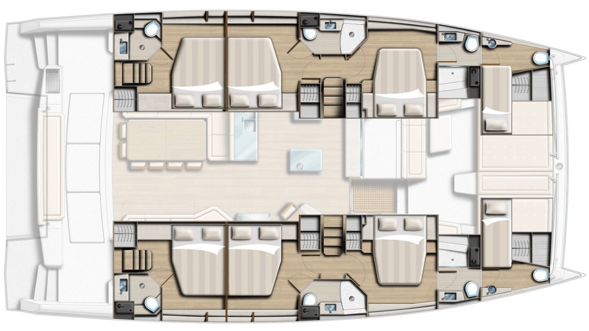 Layout from above showing different hull options for yacht Bali 5.4