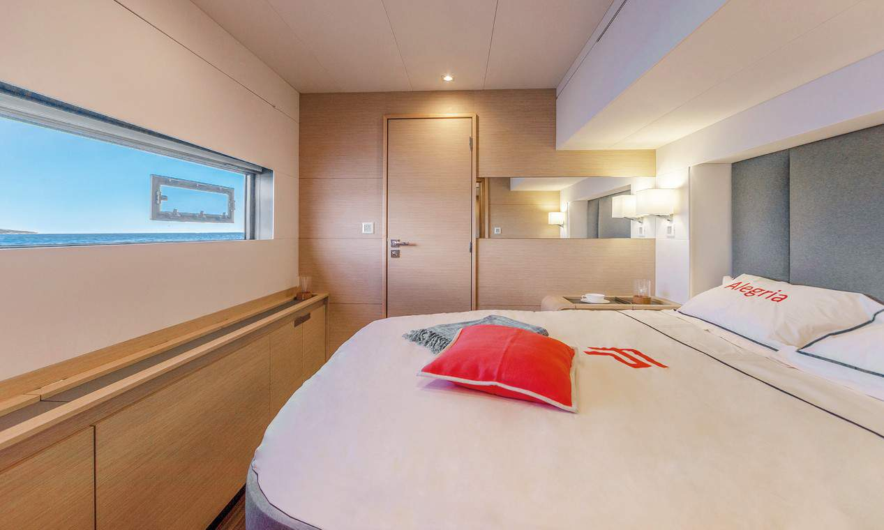 Gorgeous cabin with king size bed in the Fountain Pajot 67