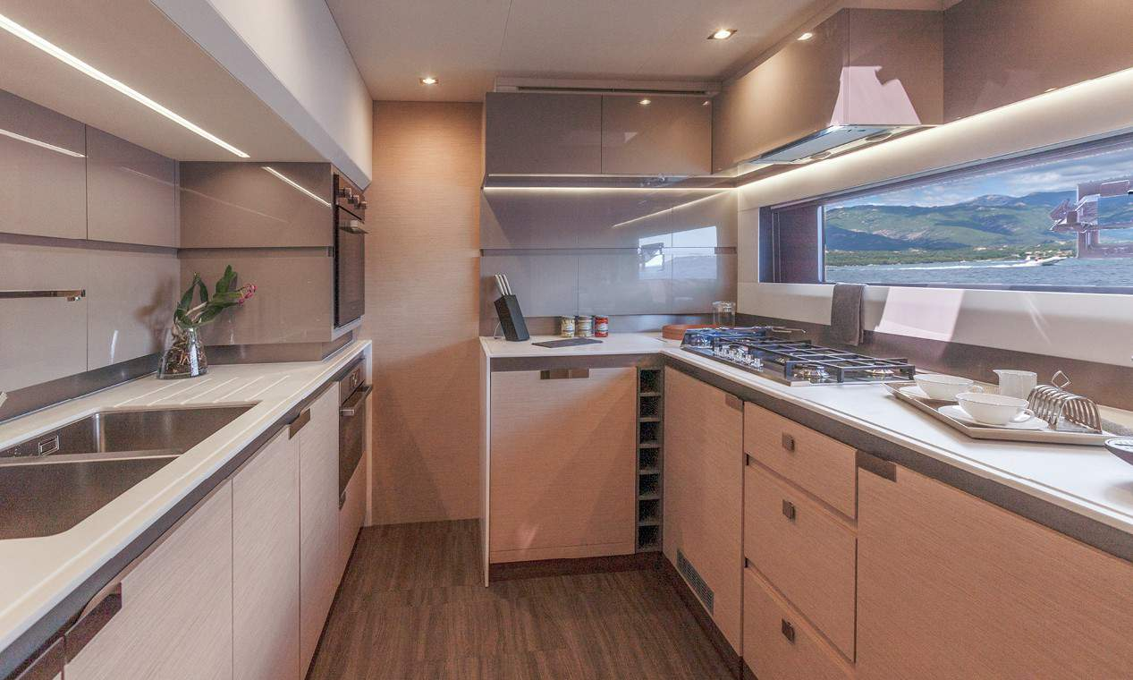 Beautiful fully equipped galley of the luxurious Fountain Pajot 67