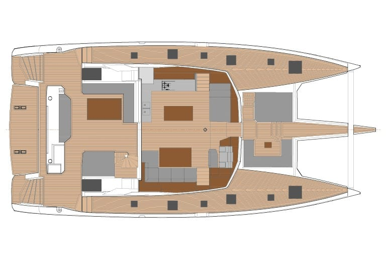 Layout plan of the massive deck and saloon of the Fountain Pajot 67