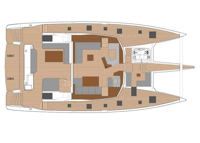 Layout of the massive exterior deck area of the Fountain Pajot 67