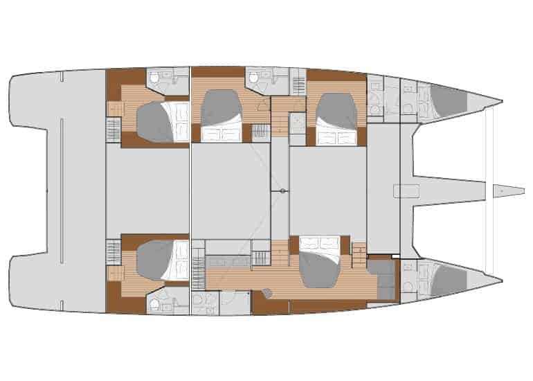 5 cabin layout with downstair galley of the Fountain Pajot 67
