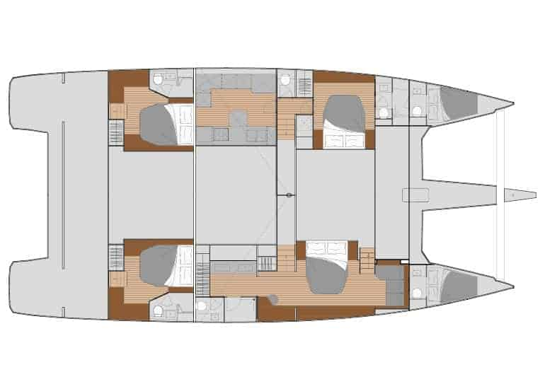 4 cabin layout with downstairs saloon and galley area of the Fountain Pajot 67