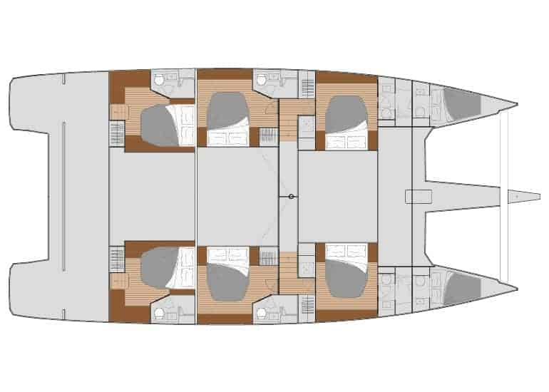 6 cabin layout of the Fountain Pajot 67