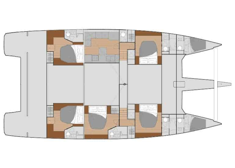 5 cabin layout with downstairs saloon area