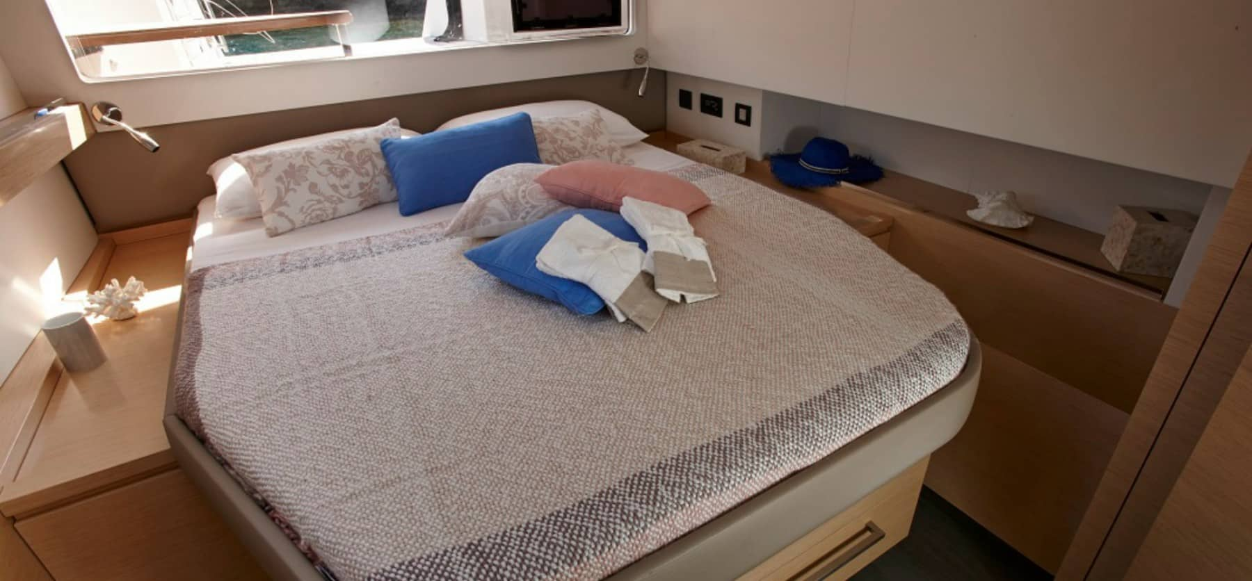 Massive doublebed in the cabin of the Fountain Pajot Ipanema 58