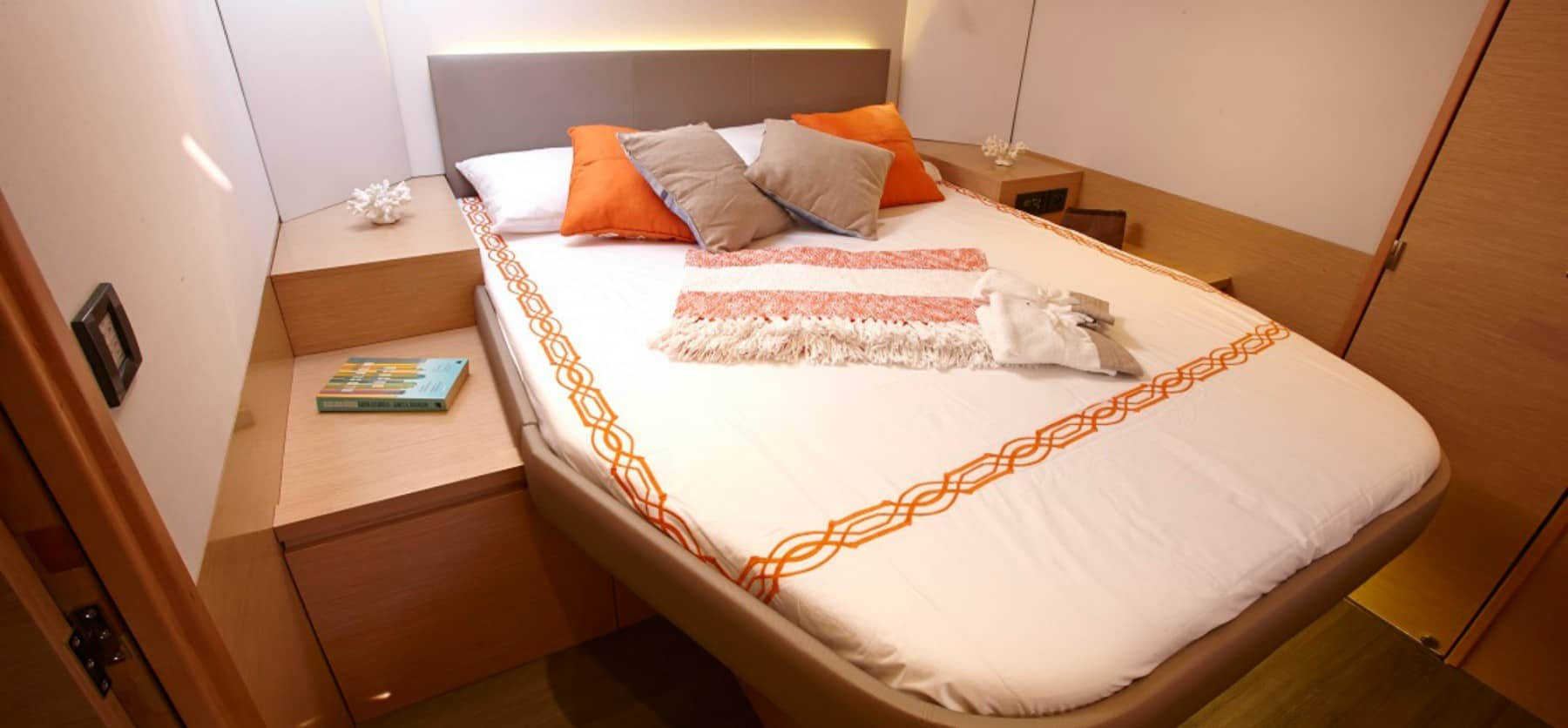 Beautiful double bed in one of the cabins in the Fountain Pajot Ipanema 58