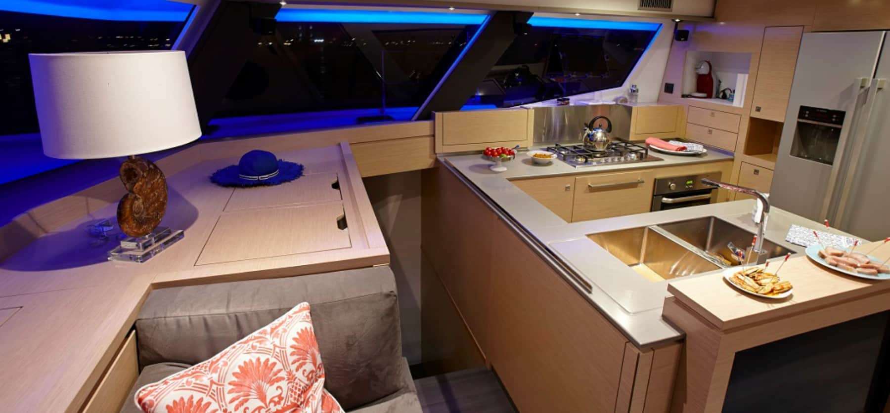 Beautiful design of the spacious galley of the Pajot Ipanema 58