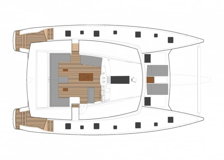 Layout plan of the massive deck of the Fountain Pajot Ipanema 58