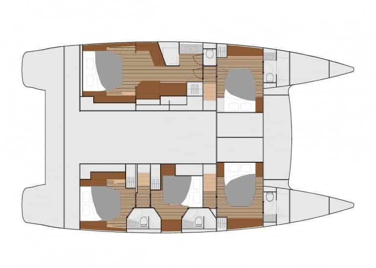 Massive 5 cabin layout plan of the Fountain Pajot Ipanema 58