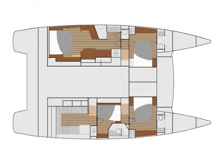4 cabin layout with massive galley