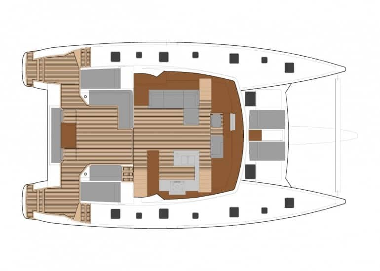 Alterate saloon layout with galley of the Fountain Pajot Ipanema 58