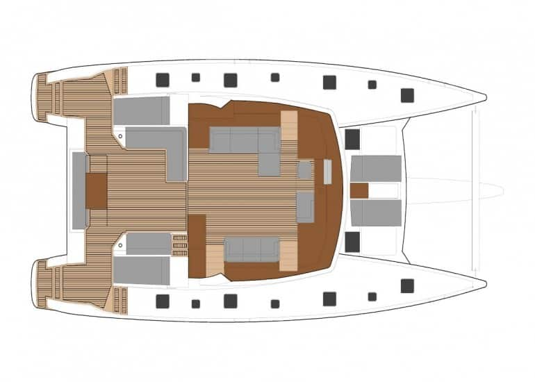 Layout plan of the spacious saloon and of the Fountain Pajot Ipanema 58