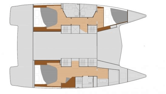 Animated overview of the Fountaine Pajot Lucia 40 from above showing different hull options