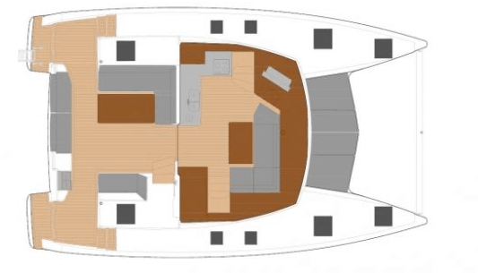 Animated overview of the Fountaine Pajot Lucia 40 from above showing the cockpit and deck