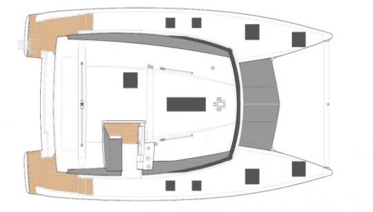 Animated overview of the Fountaine Pajot Lucia 40 from above showing flybridge and deck