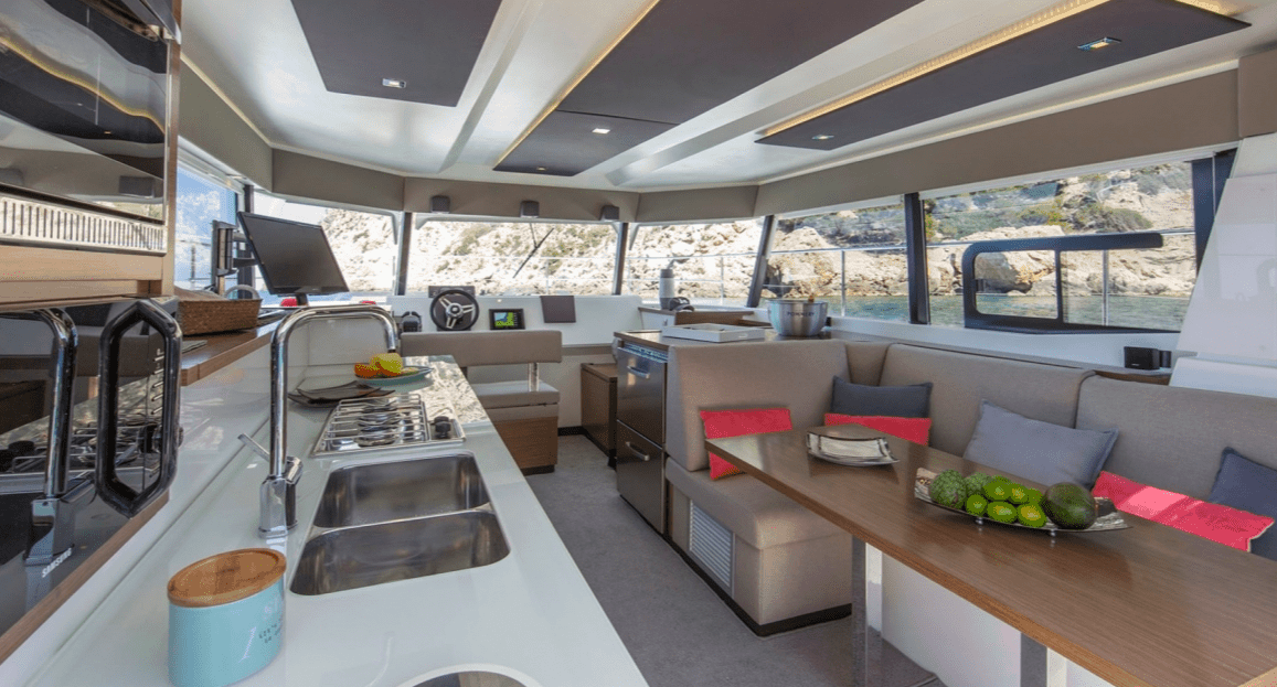 Spacious and minimalistic design of the luxurious Fountaine Pajot Motor Yacht 37