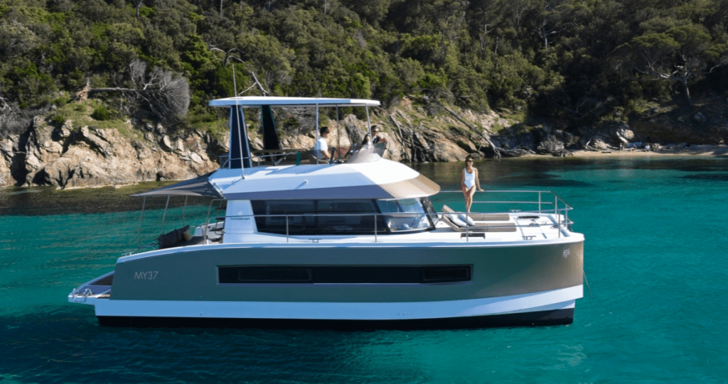 Group of people enjoying the massive Fountaine Pajot Motor Yacht 37