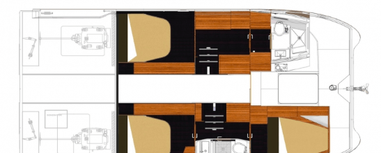 Layout plan for 3 cabins of the Fountaine Pajot Motor Yacht 37