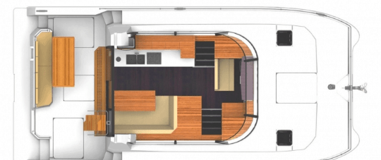Interior layout of the saloon and galley of the Fountaine Pajot Motor Yacht 37