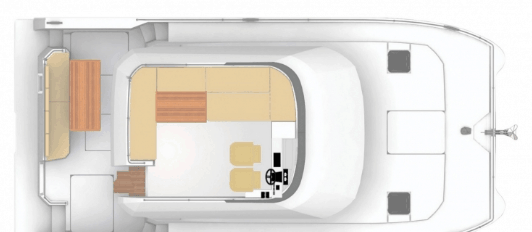 Exterior plan of the fly bridge of the Fountaine Pajot Motor Yacht 37