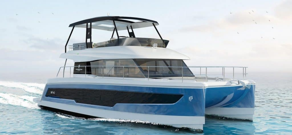 Fountaine Pajot Motor yacht 40 cruising ahead with the motors running