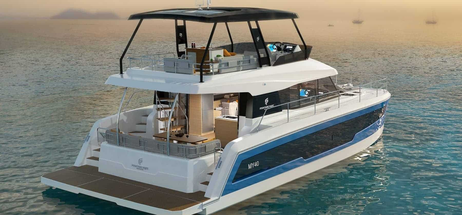 anchored Fountaine Pajot Motor yacht 40 floating calmly in still, blue water
