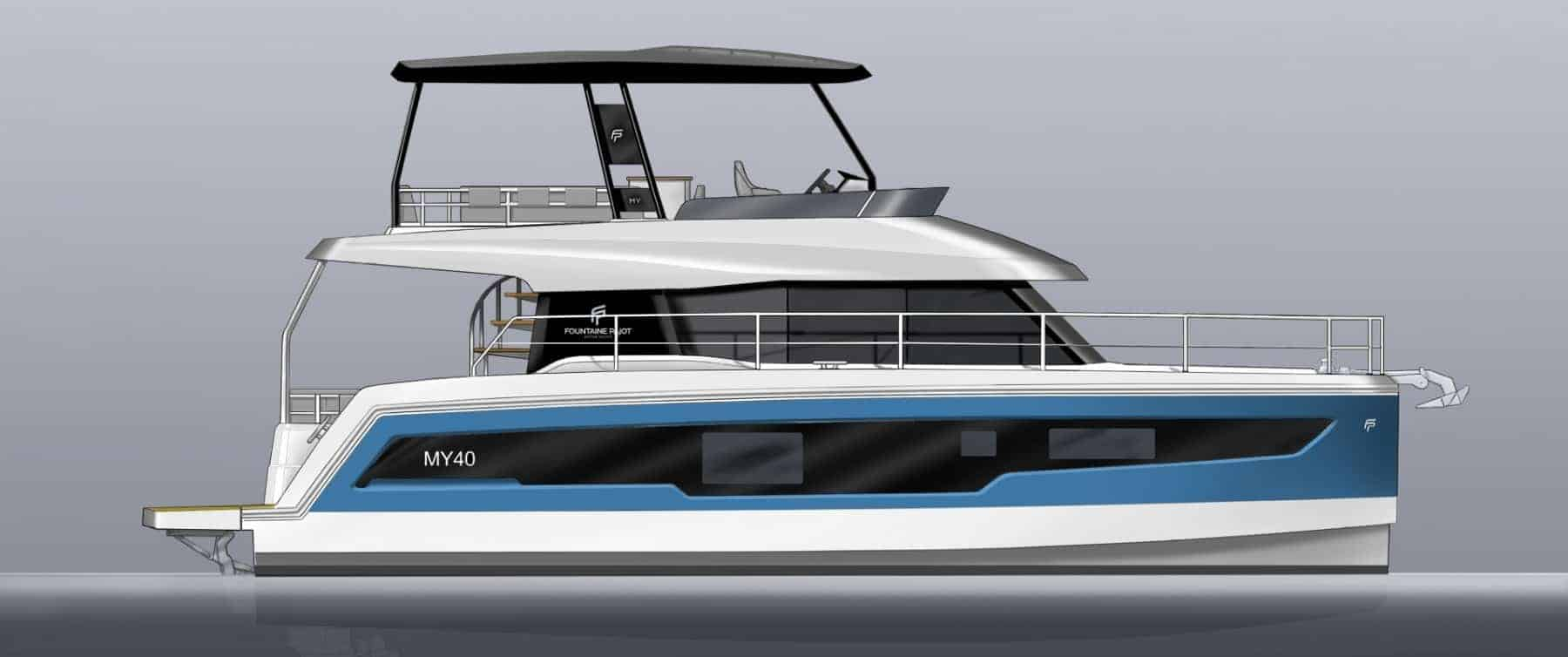 Animated and coloured Fountaine Pajot Motor yacht 40 in profile